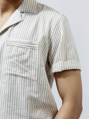 Áo Sơ Mi Linen Sọc Trắng Kem ASM1270