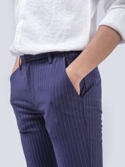 Quần Tây Kẻ Sọc Form Slim-Cropped QT150 Màu Xanh Đen