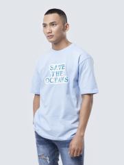 Áo Thun In Save The Oceans AT837 Màu Xanh Biển