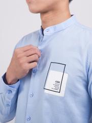 Áo Sơ Mi Cổ Lãnh Tụ In Ngực Màu Xanh Biển ASM1309