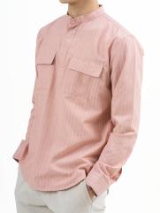 Áo Sơ Mi Kẻ Sọc Cổ Trụ ASM011 Màu Cam