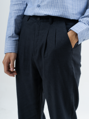 Quần Tây Linen Form Loose-cropped QT002 Màu Xanh Đen