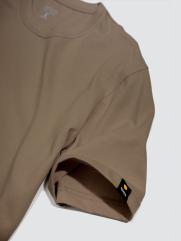 Áo Thun Gắn Nhãn Mặt Cười Màu Nâu Nhạt AT049