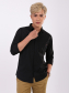 Áo Sơ Mi Nẹp Dấu Nút Thêu Túi Màu Đen ASM1301