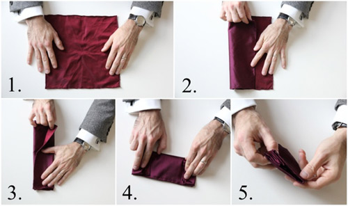 Hướng dẫn cách gấp khăn trang trí tui áo vest nam - 2