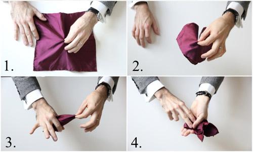 Hướng dẫn cách gấp khăn trang trí tui áo vest nam - 9
