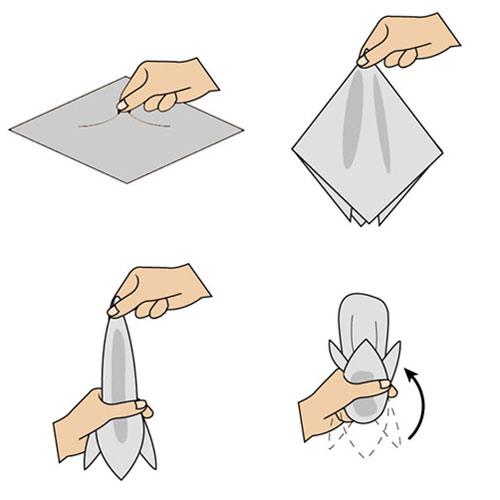 Hướng dẫn cách gấp khăn trang trí tui áo vest nam - 7