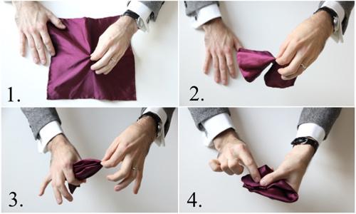Hướng dẫn cách gấp khăn trang trí tui áo vest nam - 6