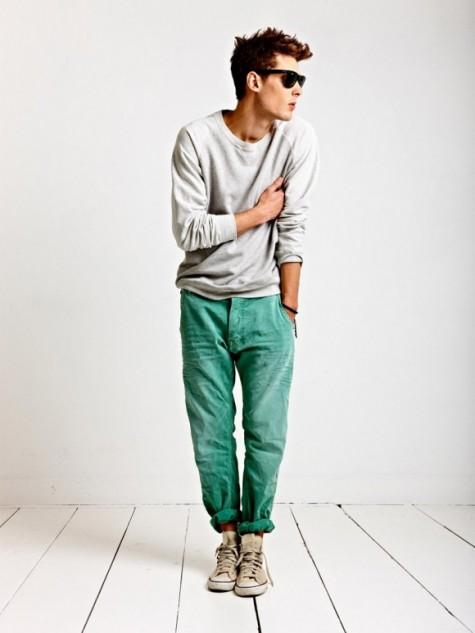 Cách diện đồ nam màu xanh bạc hà - 1