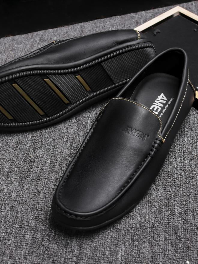 Giày Mọi Da Đen G76