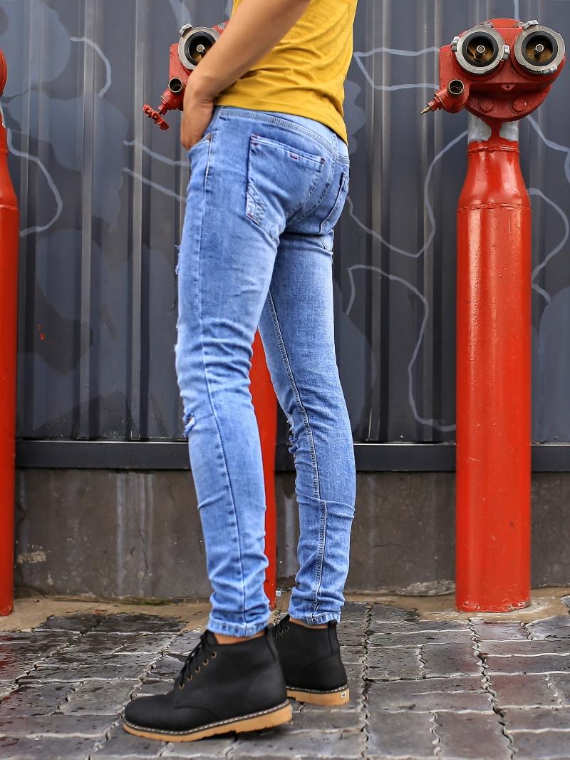 Quần Jean Skinny Rách Xanh QJ1386