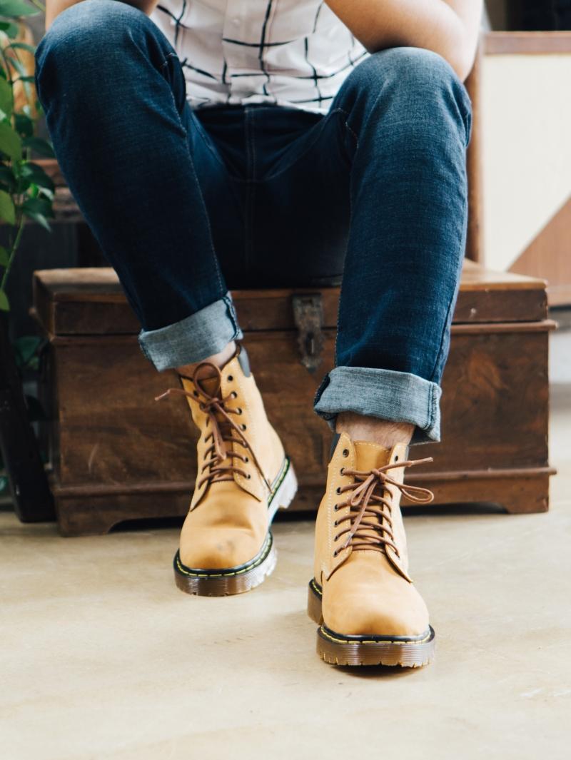 Giày Boot Cổ Cao Màu Bò G101