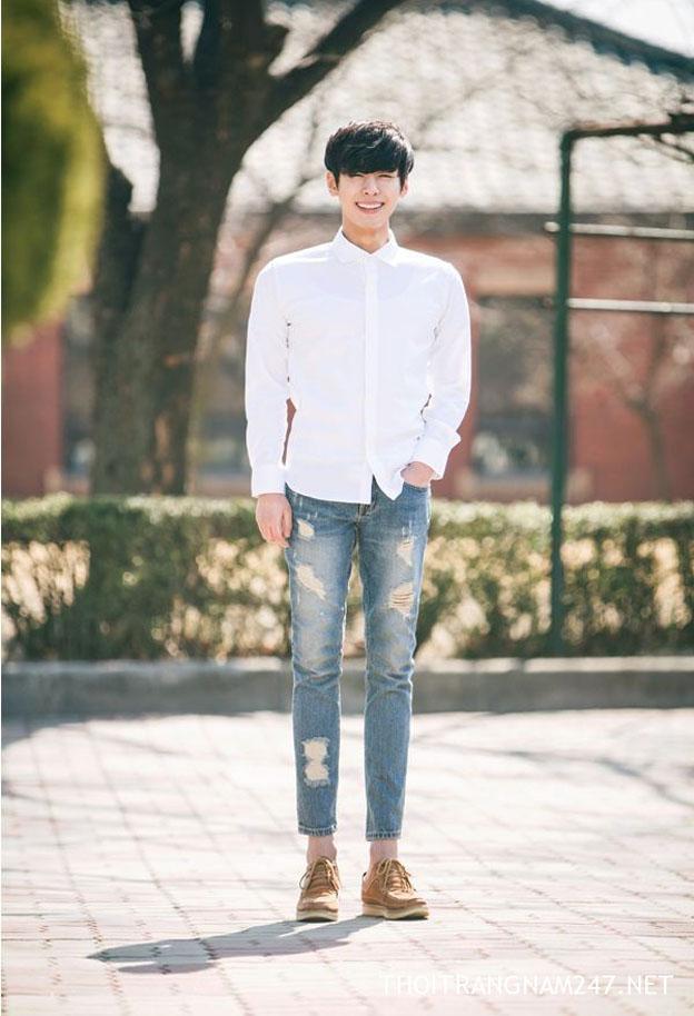 Cách mặc quần jean nam rách đẹp