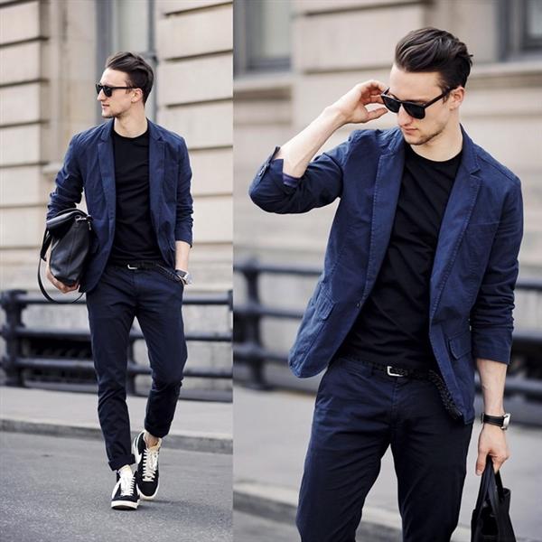 Cách mix đồ nam với vest xanh đen và xanh đậm