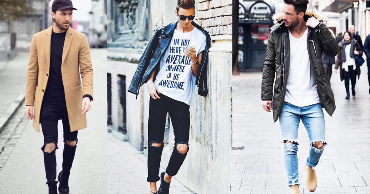 Những cách phối cơ bản với quần jean rách