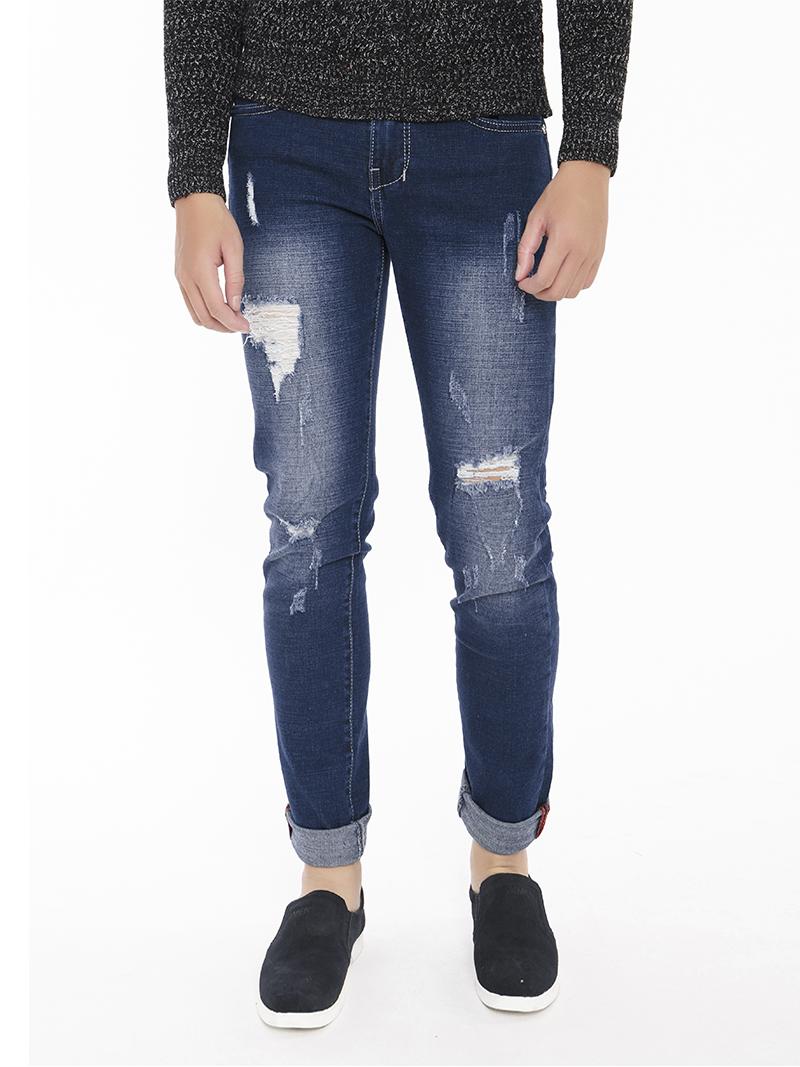 Quần Jeans Rách Xanh Đen QJ1545