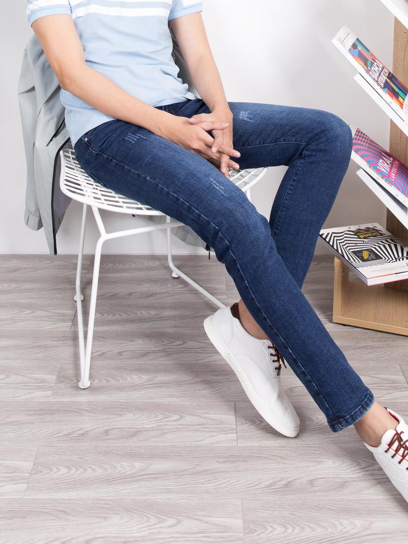 Quần Jeans Rách Xanh Dương Đậm QJ1640