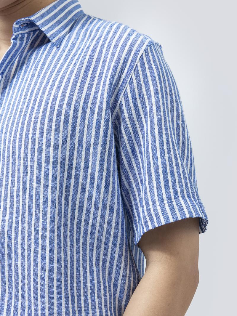 Áo Sơ Mi Linen sọc xanh ASM1278