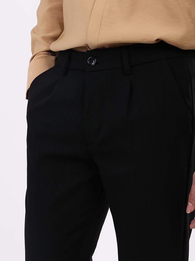 Quần Tây Sọc Slim-cropped Lai Lơ Vê QT153 Màu Đen
