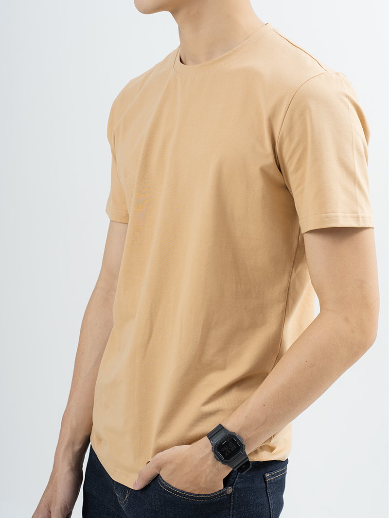 Áo Thun Trơn Căn Bản Form Slimfit AT018 Màu Cà Phê