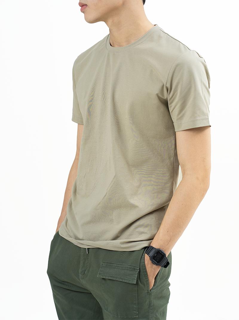 Áo Thun Trơn Căn Bản Form Slimfit AT018 Màu Rêu