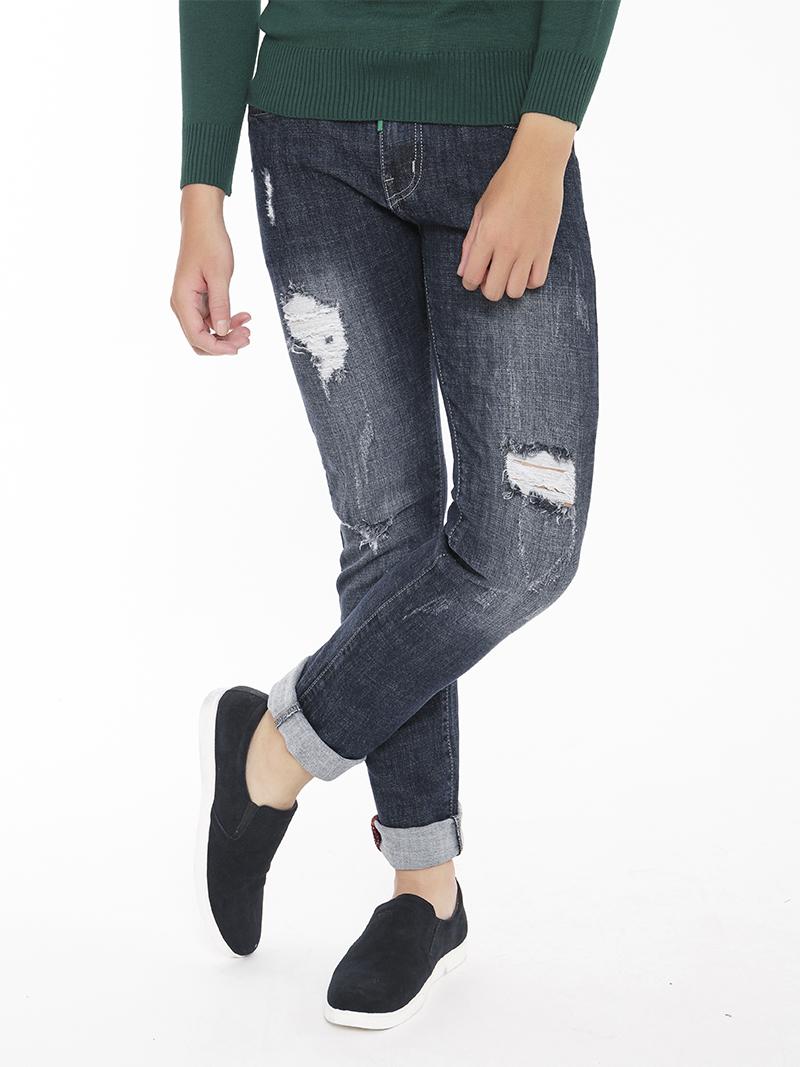 quan jeans rach xanh den qj1546