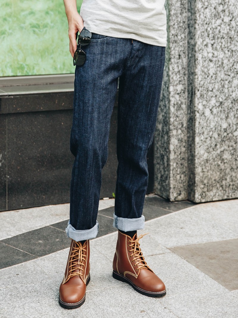 quan jeans ong dung xanh den qj1623
