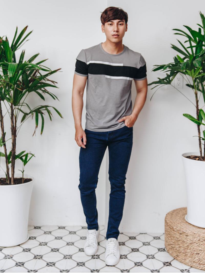 quan jeans slimfit xanh den qj1622