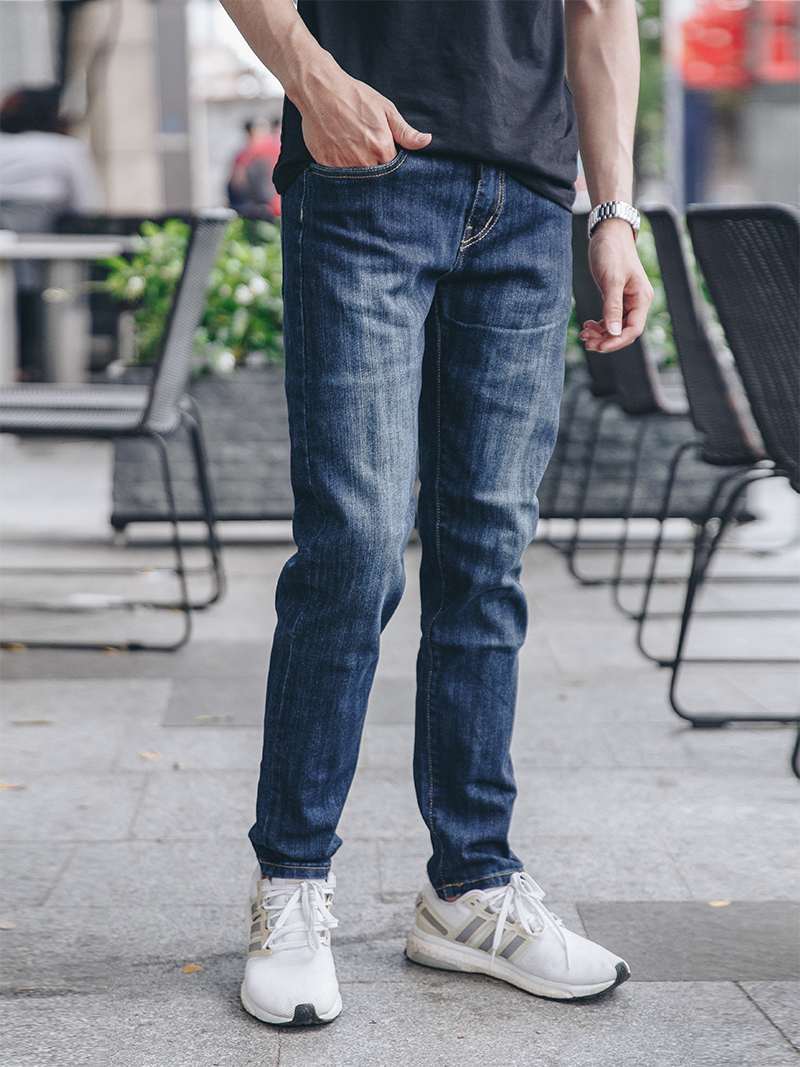 quan jeans slimfit xanh den qj1624