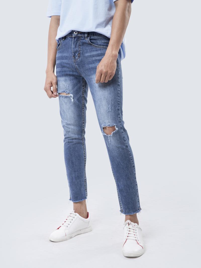 quan jean slim cropped - xanh bien dam qj1654