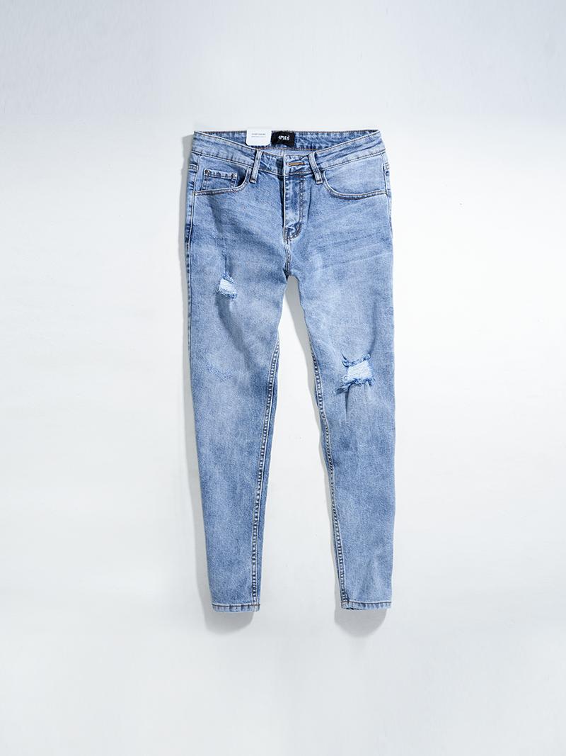 quàn jeans rách form slimfit qj008 mau xanh