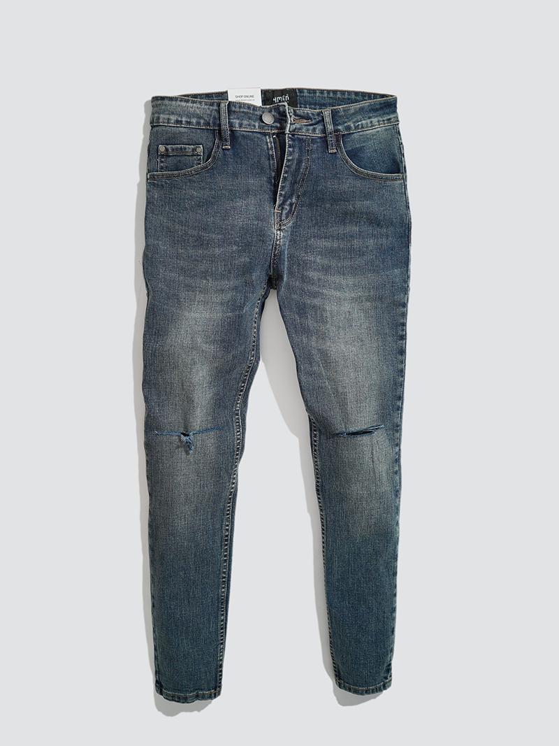 quàn jeans rách gói form slimfit qj015 mau xanh