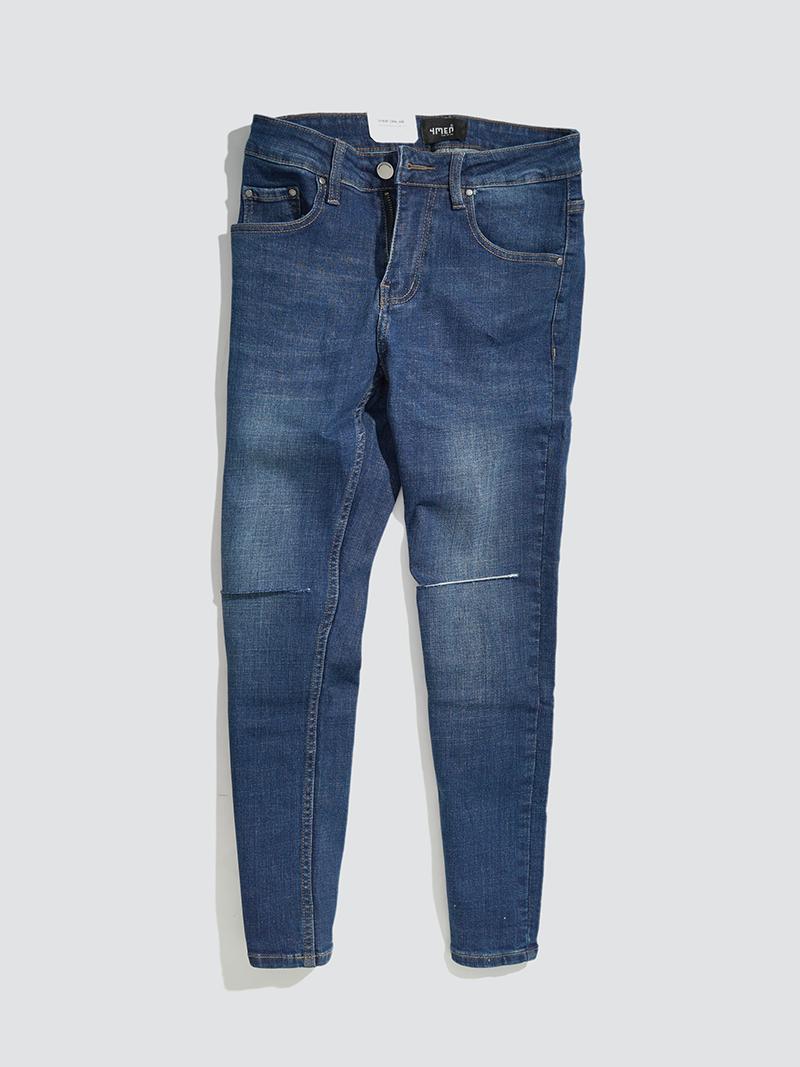quàn jeans rách gói form slimfit qj016 mau xanh