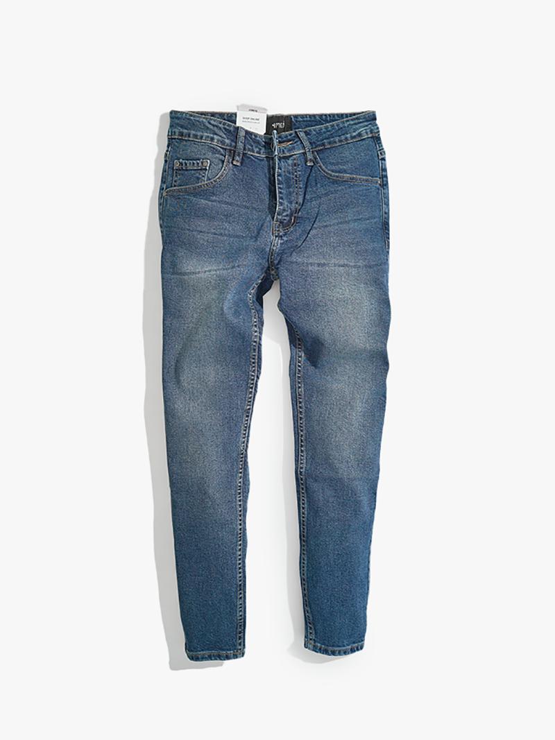 quàn jeans tron form slimfit qj014 mau xanh