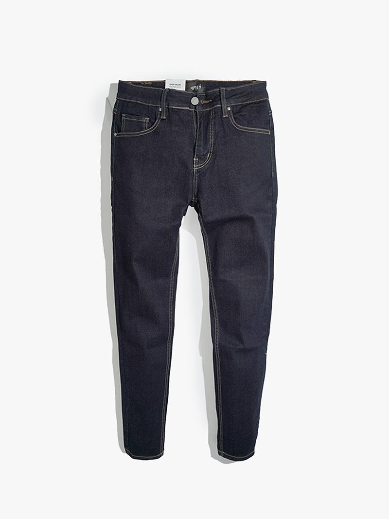 quan jeans tron form slimfit qj022 mau xanh den