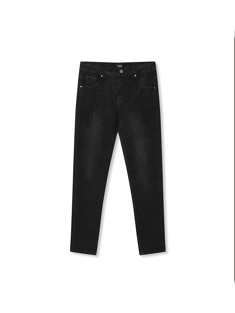 quan jeans tron form slimfit qj024 mau xam chuot